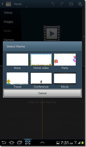 Video maker app on Galaxy Tab 2