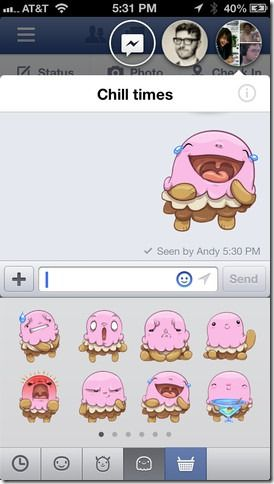 Stickers on Facebook 6.0 for iOS