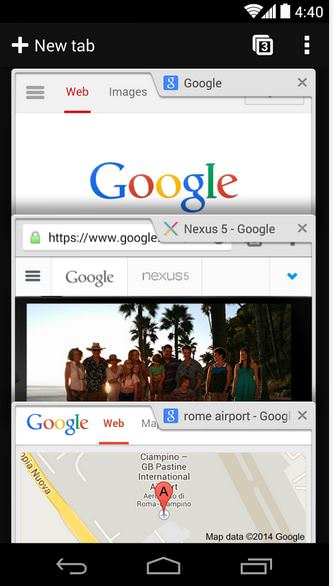 Chrome Tabbed view