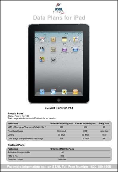 bsnl-ipad-3g-data-plan-launch