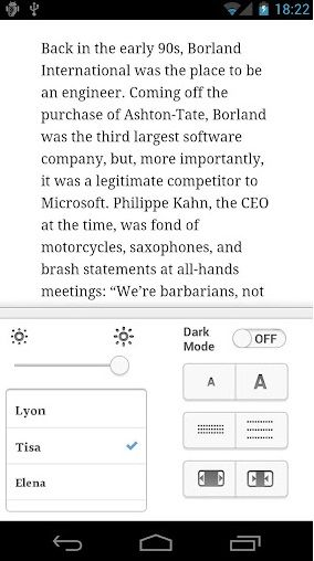 Instapaper Android Expierence