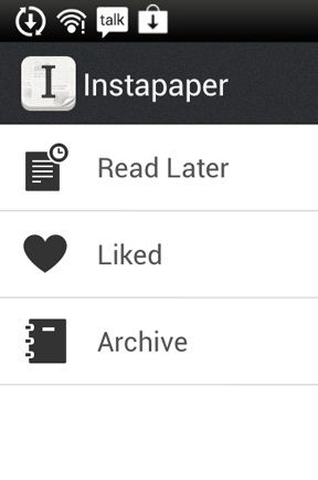 Instapaper Main page