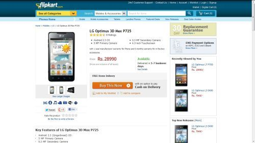 Lg Optimus L7 And 3d Max Now Selling Online At Flipkart 91mobilescom