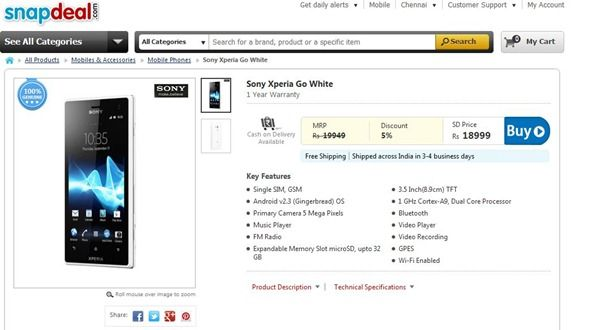snapdeal-xperia-go
