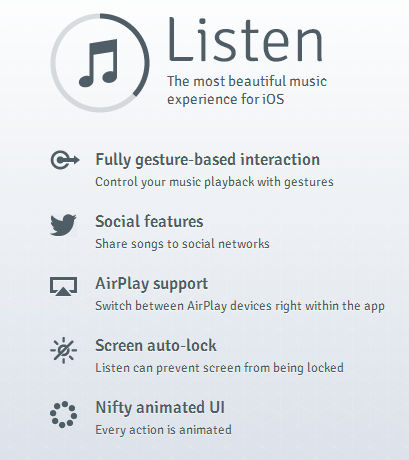 Listen App features
