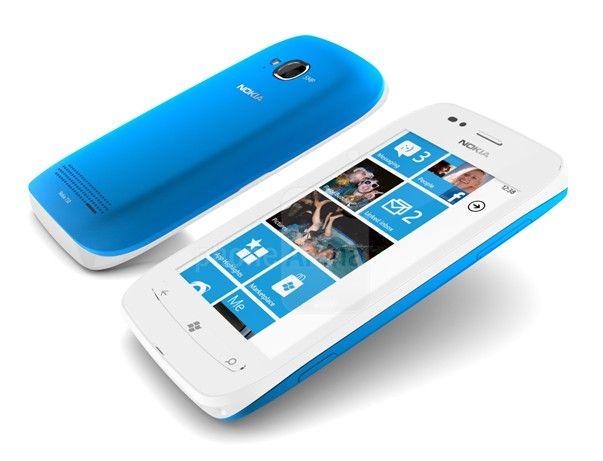 Nokia Lumia 710 front rear blue white