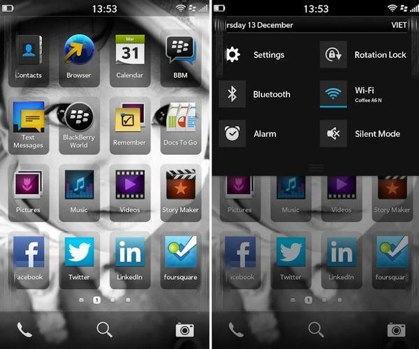 blackberry 10 homescreen