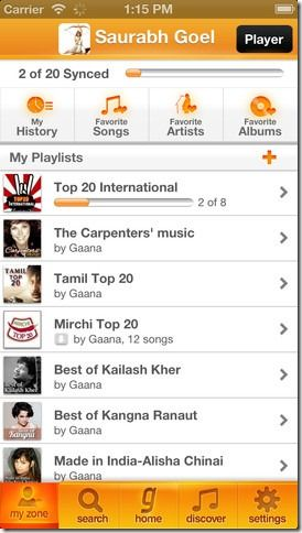 Gaana app on iPhone
