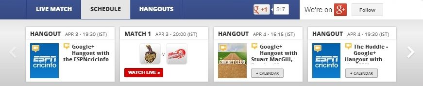 Live IPL hangouts with experts on Google +