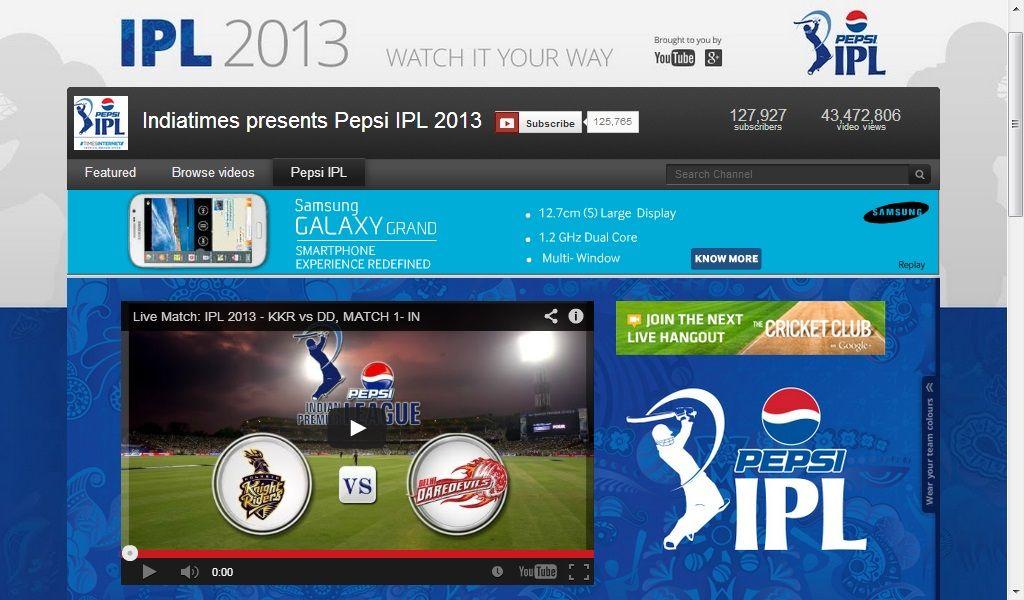 IPL T20 2013 on Youtube