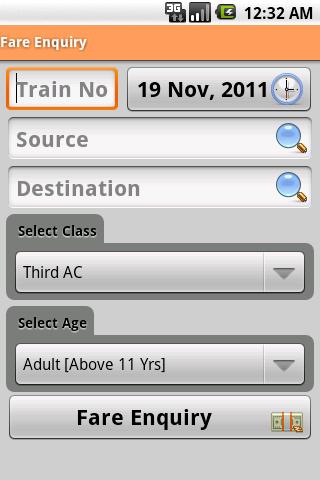 Indian Rail Info fare enquiry