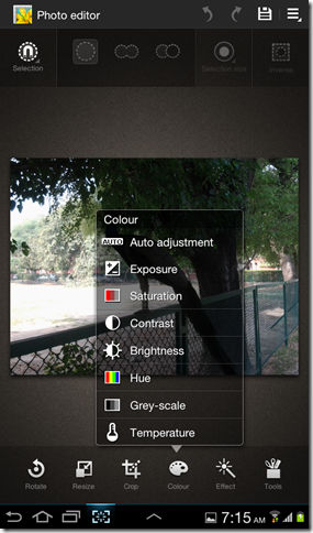 Photo editor on Galaxy Tab 2