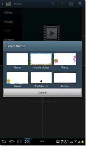 Video maker app on Galaxy Tab 2