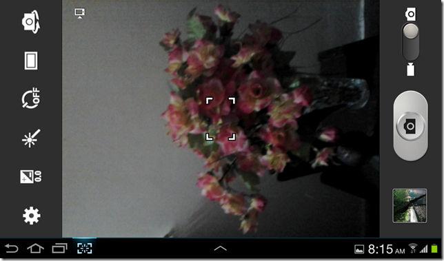 Camera settings for Galaxy Tab 2