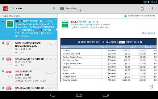 CloudMagic Tablet Interface