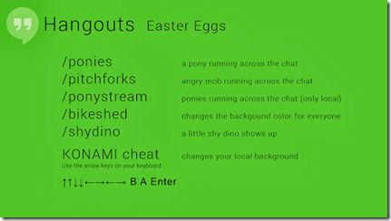 Google Hangouts Easter Eggs