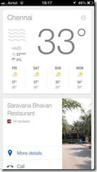 Weather information in Google Now for iOS