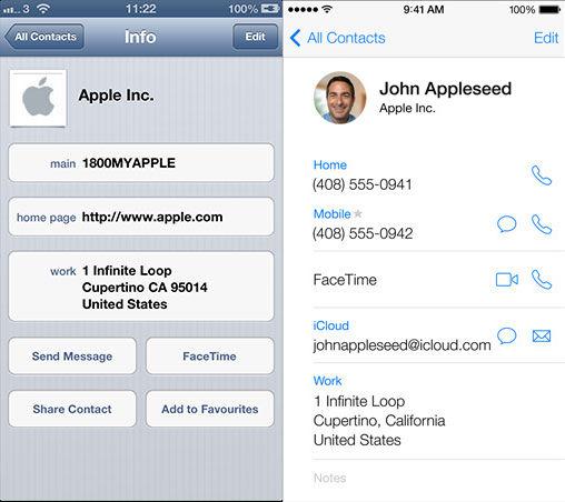 iOS 6 Contacts App vs iOS 7 Contacts app