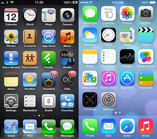 iOS 6 Homescreen vs iOS 6 7 homescreen