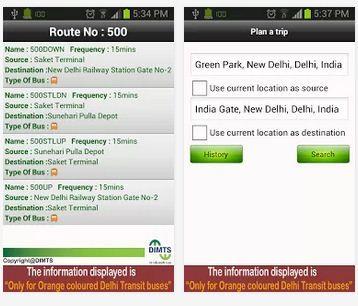 Delhi Transit Bus Info Features