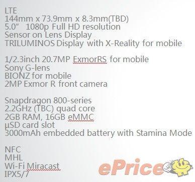 Xperia i1 Features