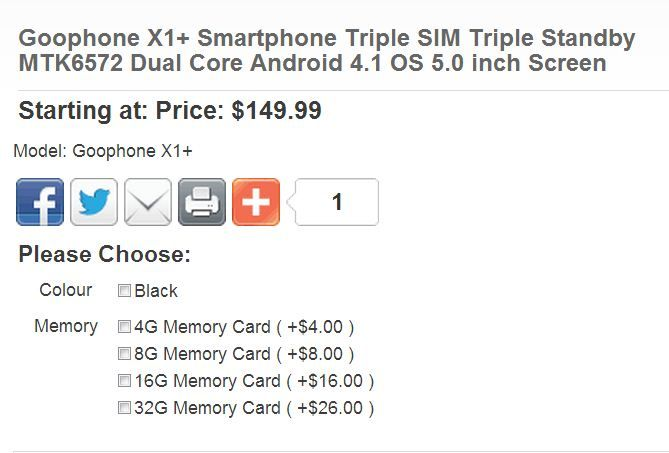 Goophone X1+ offer in China