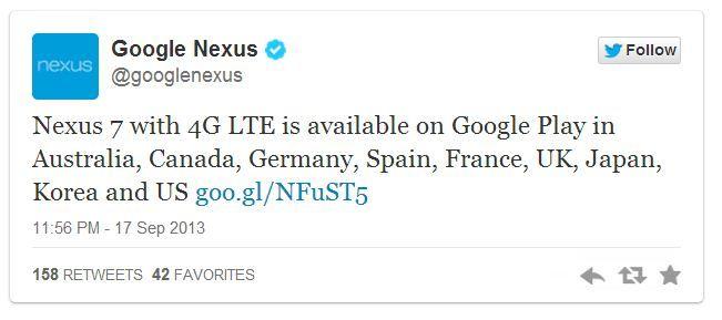 Nexus 7 LTE sale