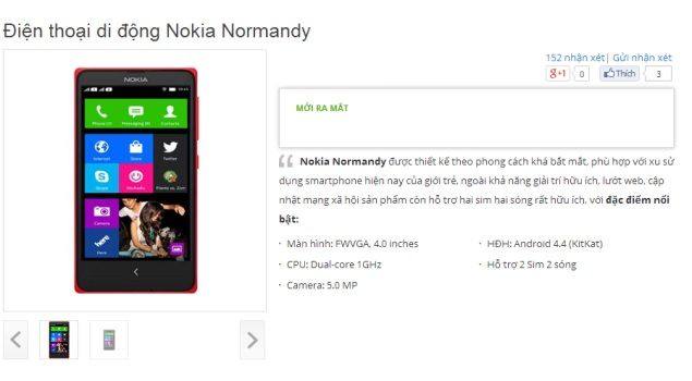 Nokia Normandy listed on Vietnamese online store with access