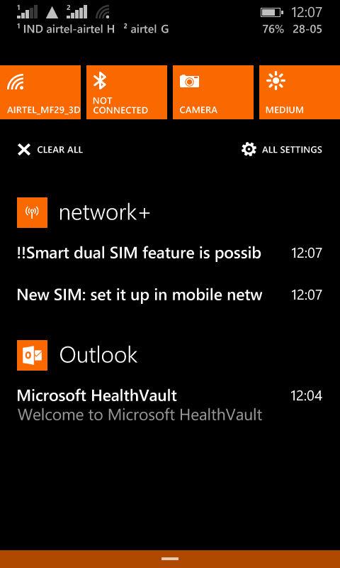 Lumia 630_action center