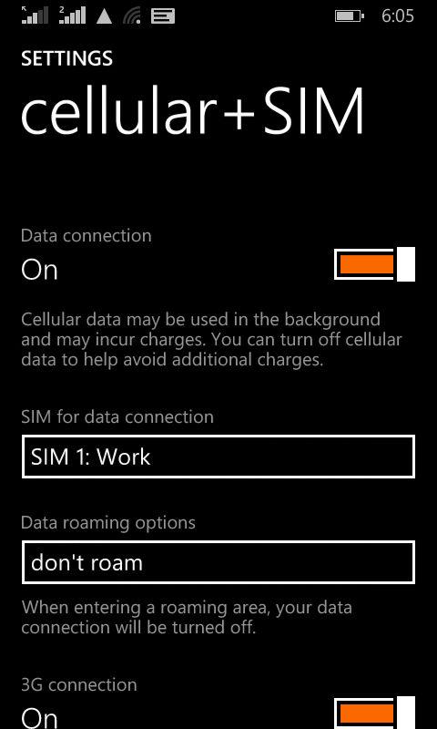 Lumia 630_sim settings