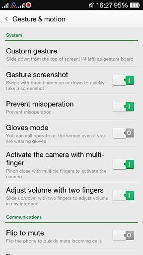 Oppo R1 gestures