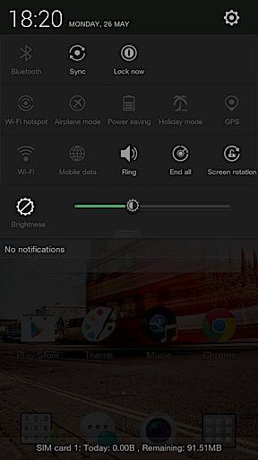 Oppo R1 notification bar