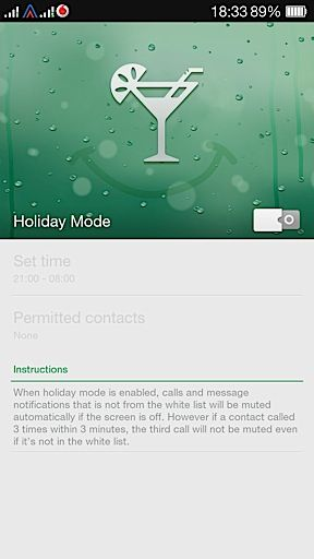 Oppo R1 Holiday Mode