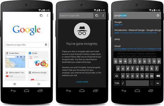Google Chrome Beta material design update