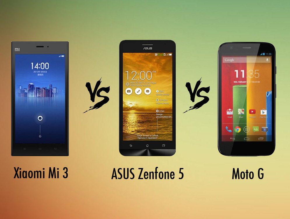 Xiaomi Mi3 vs Asus Zenfone 5 vs Moto G