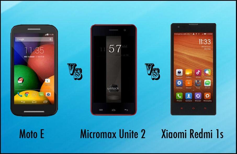 Xiaomi Redmi 1s vs Moto E vs Micromax Unite 2 comparison