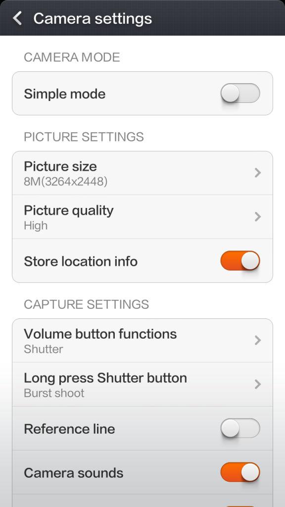 Xiaomi Redmi 1s_camera settings