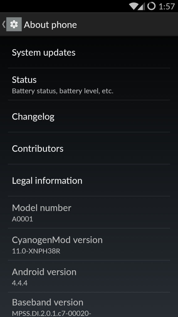 OnePlus One_about phone