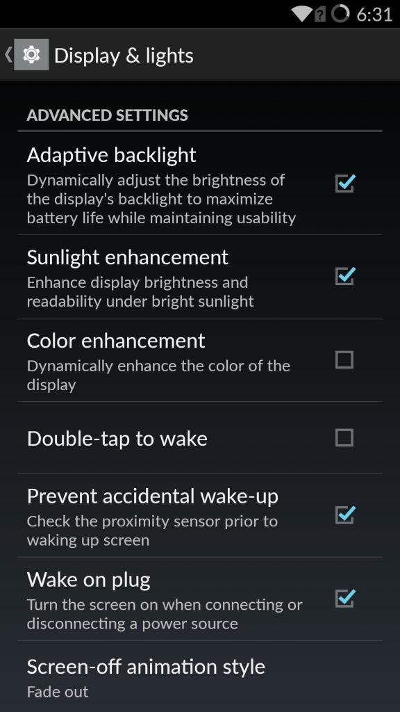 OnePlus One_display settings