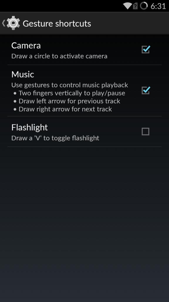OnePlus One_gesture shortcuts