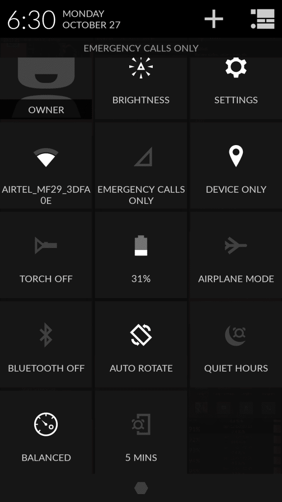OnePlus One_quick settings