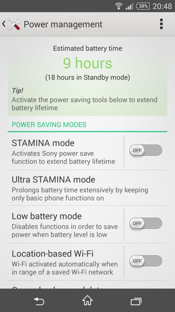 Sony Xperia Z3 Comapct_power management