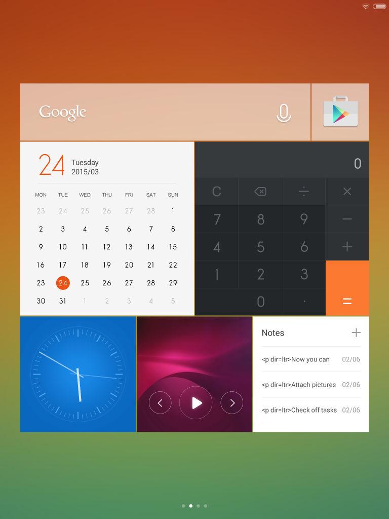 Xiaomi Mi Pad_homescreen widgets