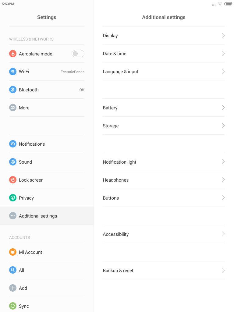 Xiaomi Mi Pad_settings