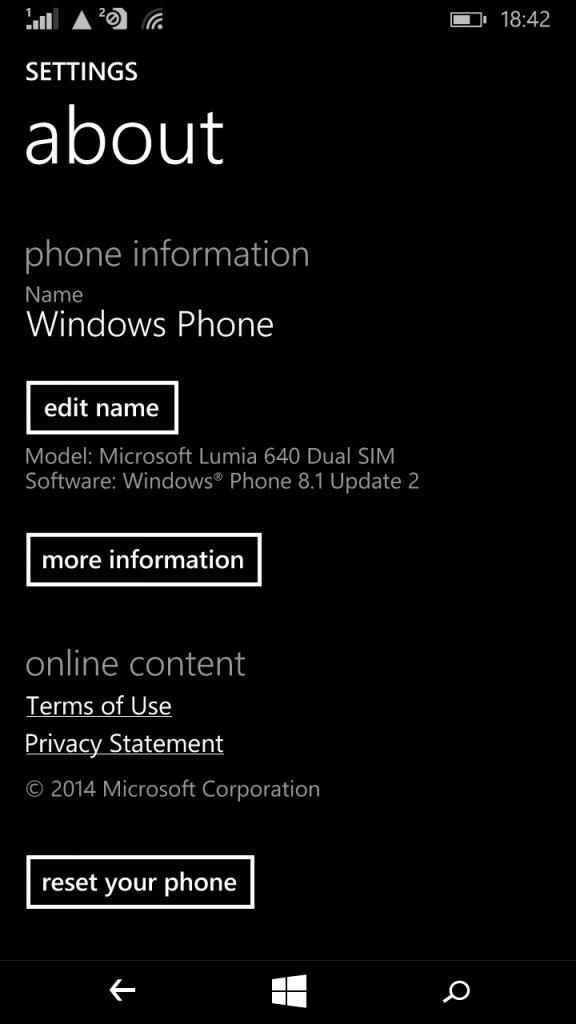Microsoft Lumia 640_about phone