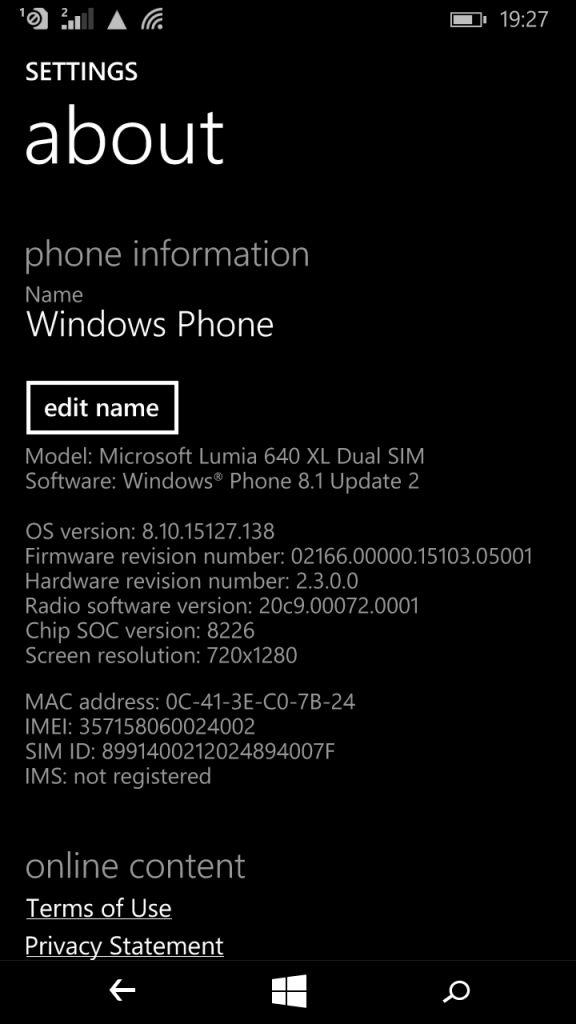 Microsoft Lumia 640 XL_about phone