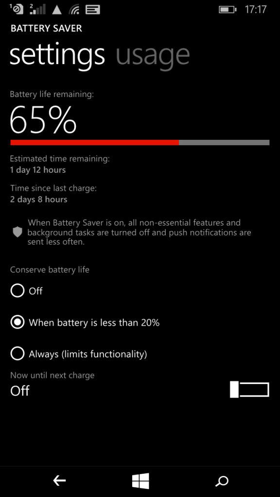 Microsoft Lumia XL_battery settings