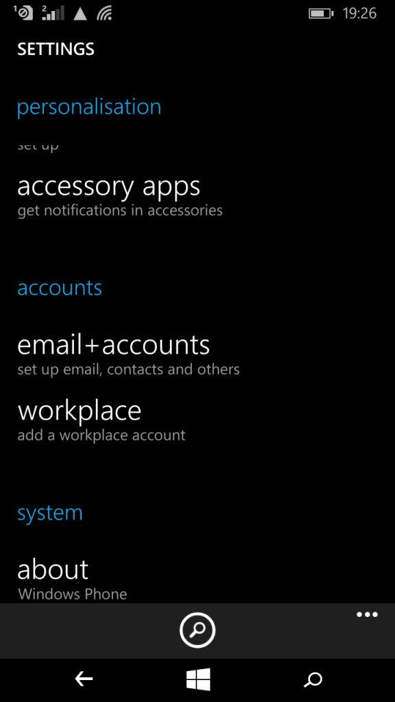 Microsoft Lumia XL_settings
