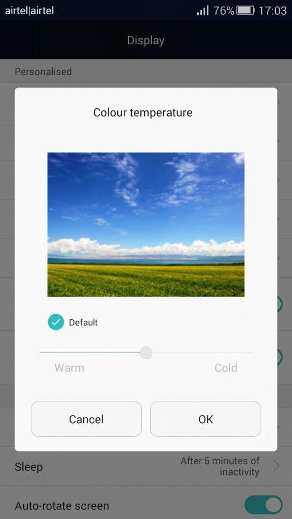 Honor 4C_display colour temperature