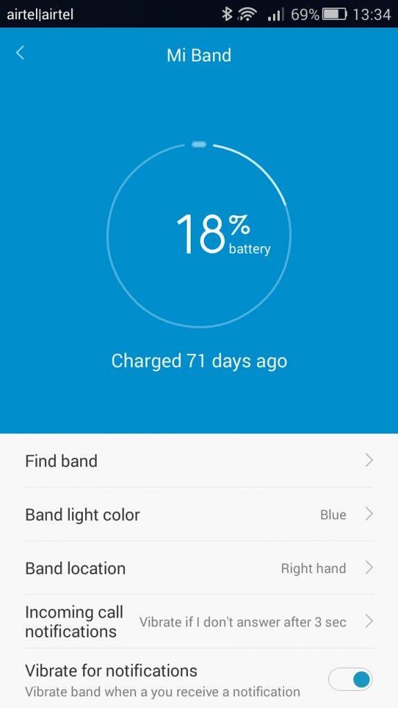Xiaomi Mi Band_battery life